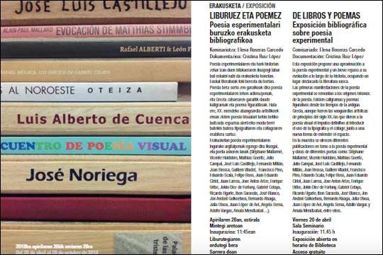 """""""Liburuez eta poemez"""", poesia esperimentalari buruzko erakusketa bibliografikoa"""