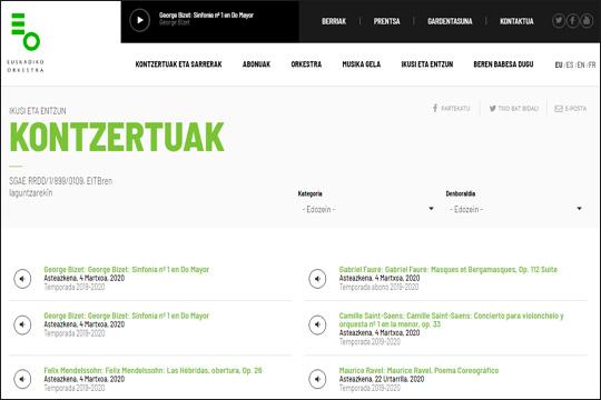 Euskadiko Orkestraren multimedia edukiak