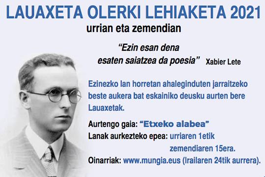 Lauaxeta Olerki Lehiaketa 2021
